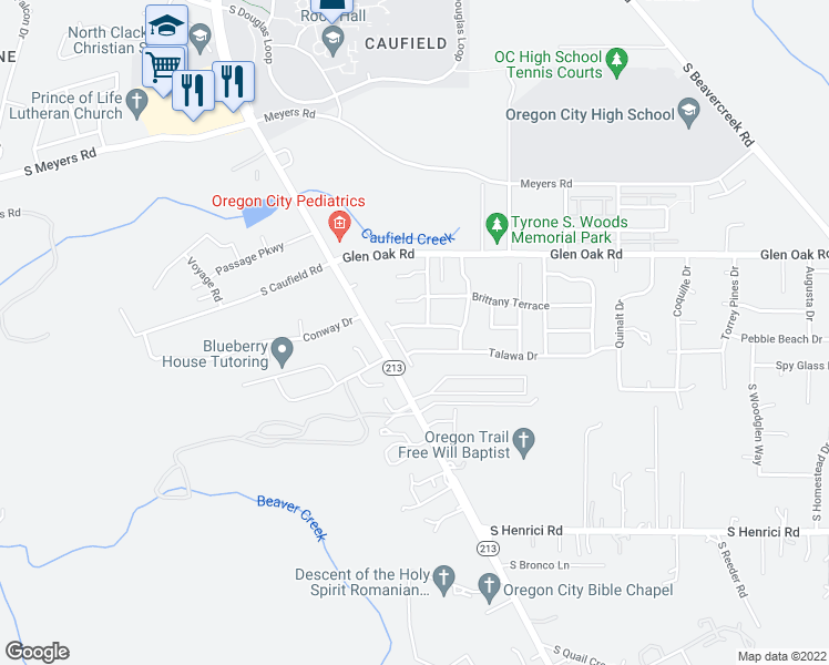 map of restaurants, bars, coffee shops, grocery stores, and more near 14226 Russ Wilcox Way in Oregon City