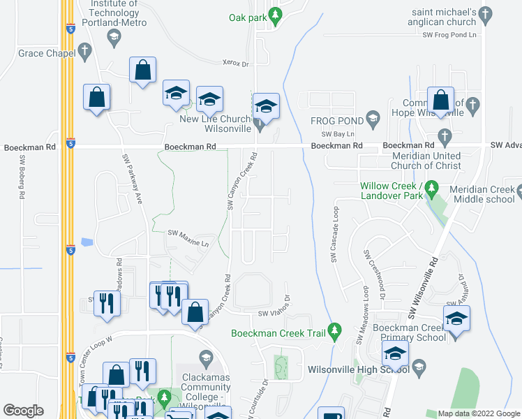 map of restaurants, bars, coffee shops, grocery stores, and more near 7889 Southwest Rockbridge Street in Wilsonville