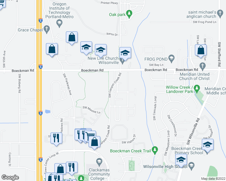 map of restaurants, bars, coffee shops, grocery stores, and more near 7936 Southwest Summerton Avenue in Wilsonville