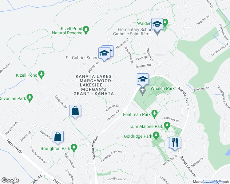 map of restaurants, bars, coffee shops, grocery stores, and more near 241 Badgeley Avenue in Ottawa