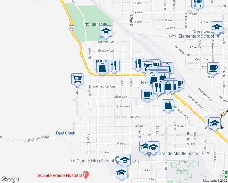 map of restaurants, bars, coffee shops, grocery stores, and more near Cedar Street in La Grande
