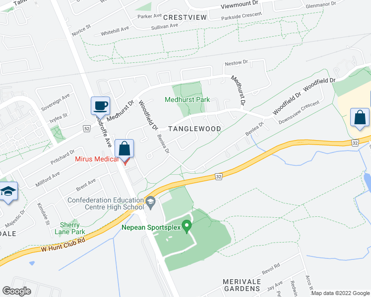 map of restaurants, bars, coffee shops, grocery stores, and more near 19 Kidgrove Gardens in Ottawa