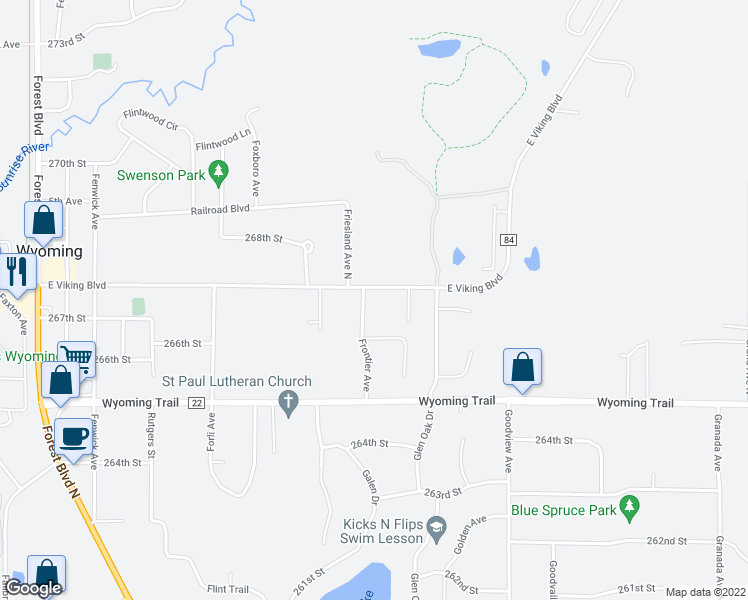 map of restaurants, bars, coffee shops, grocery stores, and more near 6023 East Viking Boulevard in Wyoming