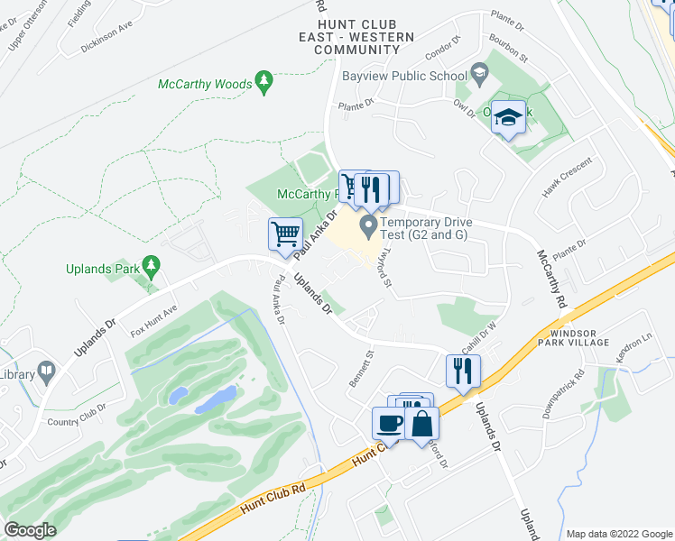 map of restaurants, bars, coffee shops, grocery stores, and more near 3325 Uplands Drive in Ottawa