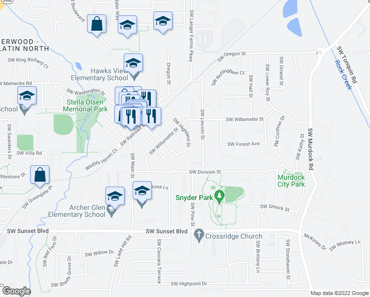 map of restaurants, bars, coffee shops, grocery stores, and more near 22805 Southwest HIghland Drive in Sherwood