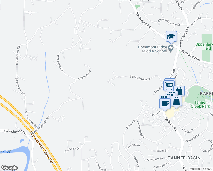 map of restaurants, bars, coffee shops, grocery stores, and more near 21430 Brandywine Lane in West Linn
