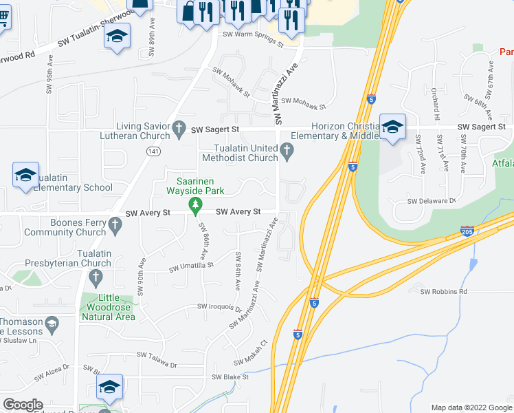 map of restaurants, bars, coffee shops, grocery stores, and more near 8245 Southwest Avery Street in Tualatin