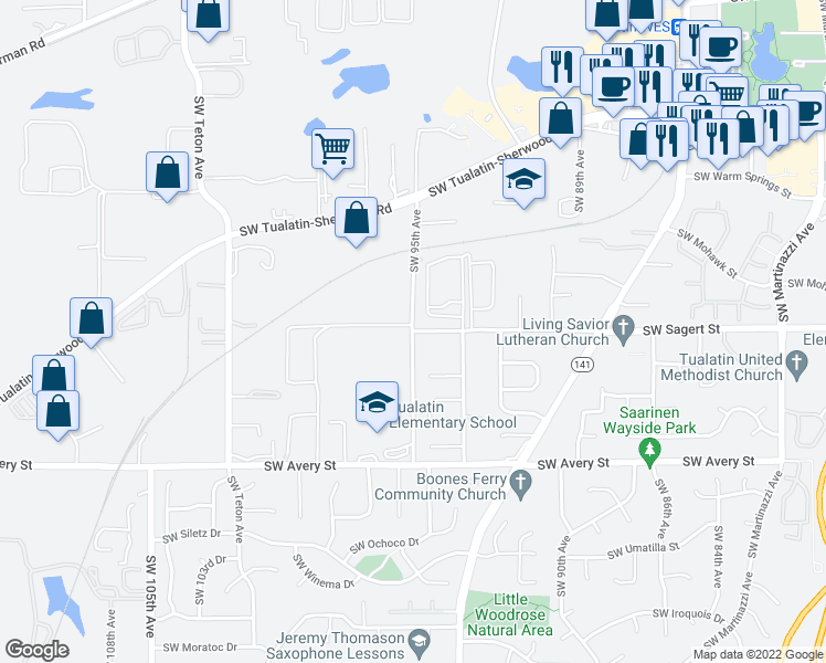 map of restaurants, bars, coffee shops, grocery stores, and more near SW 95th Ave & SW Sagert St in Tualatin