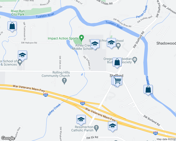 map of restaurants, bars, coffee shops, grocery stores, and more near 3025 Southwest Borland Road in Tualatin