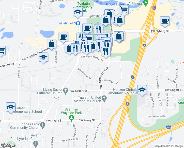 map of restaurants, bars, coffee shops, grocery stores, and more near 8325 Southwest Mohawk Street in Tualatin