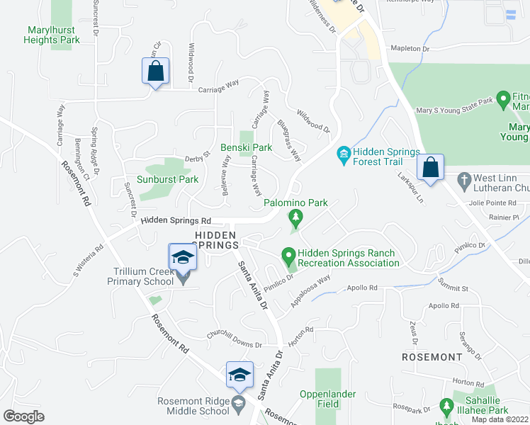 map of restaurants, bars, coffee shops, grocery stores, and more near 3002 Hunter Court in West Linn