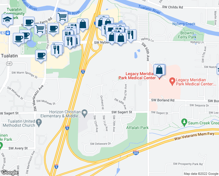 map of restaurants, bars, coffee shops, grocery stores, and more near 6985 Southwest Napa Drive in Tualatin