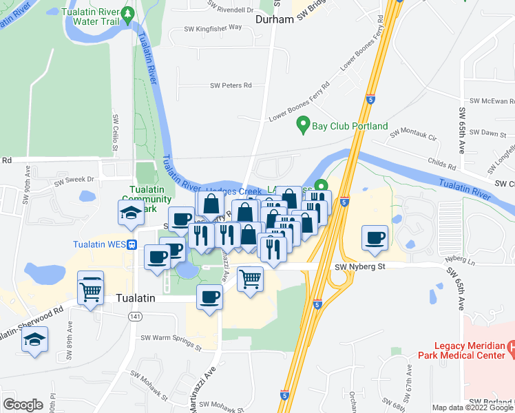 map of restaurants, bars, coffee shops, grocery stores, and more near 18540 Southwest Boones Ferry Road in Tualatin