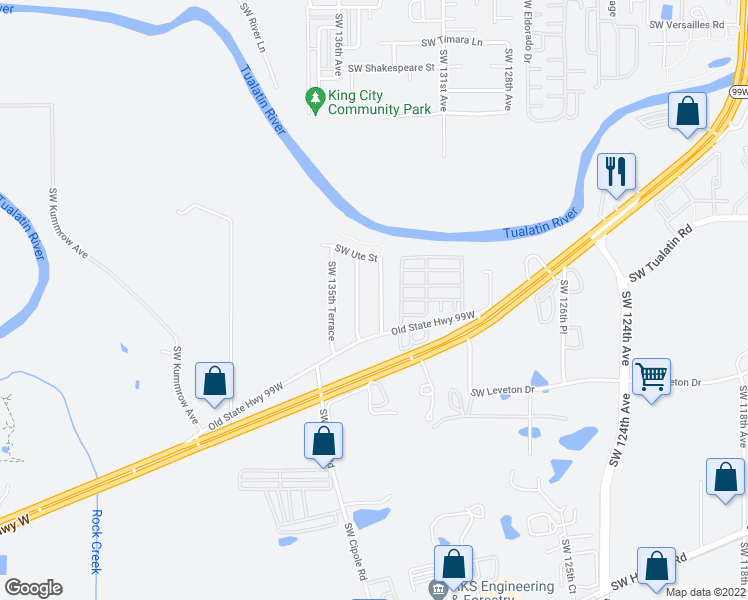 map of restaurants, bars, coffee shops, grocery stores, and more near 18295 Southwest 133rd Terrace in Tualatin