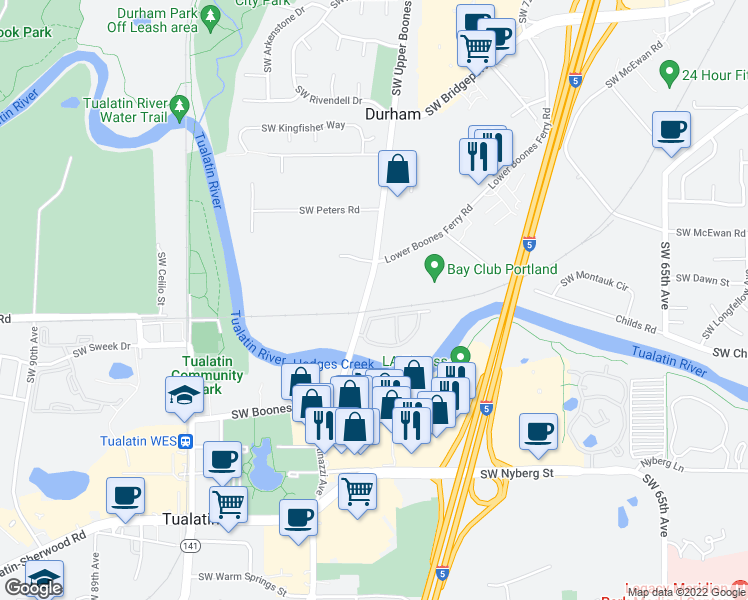 map of restaurants, bars, coffee shops, grocery stores, and more near 18270 Southwest Boones Ferry Road in Portland