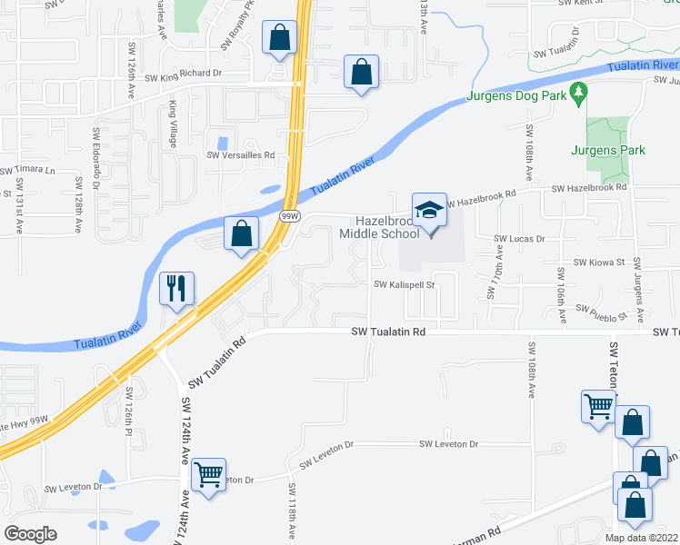 map of restaurants, bars, coffee shops, grocery stores, and more near 11795 Southwest Tualatin Road in Tualatin