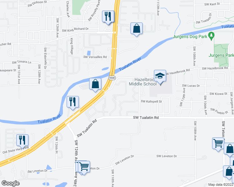 map of restaurants, bars, coffee shops, grocery stores, and more near 11865 Southwest Tualatin Road in Tualatin