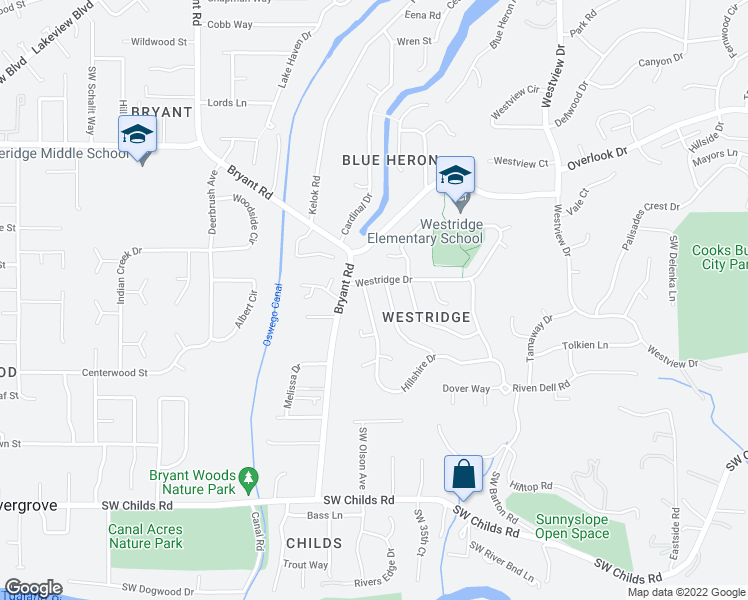 map of restaurants, bars, coffee shops, grocery stores, and more near 4 Hillshire Drive in Lake Oswego