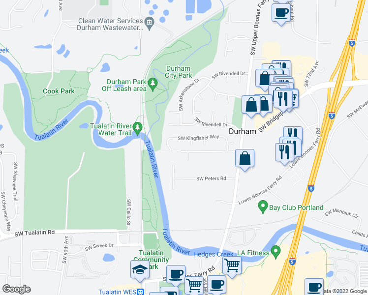 map of restaurants, bars, coffee shops, grocery stores, and more near 8135 Southwest Ellman Lane in Portland