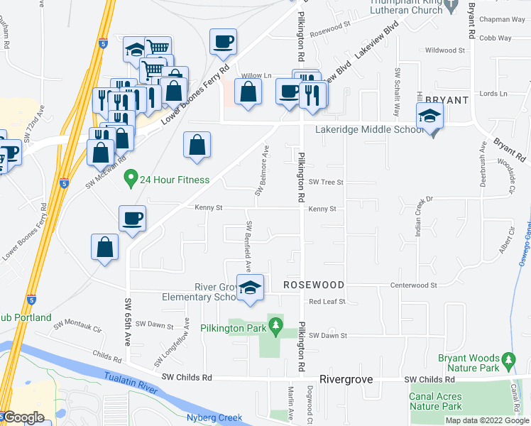 map of restaurants, bars, coffee shops, grocery stores, and more near 5720 Kenny Street in Lake Oswego