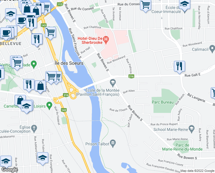 map of restaurants, bars, coffee shops, grocery stores, and more near 825 Rue Bowen Sud in Sherbrooke