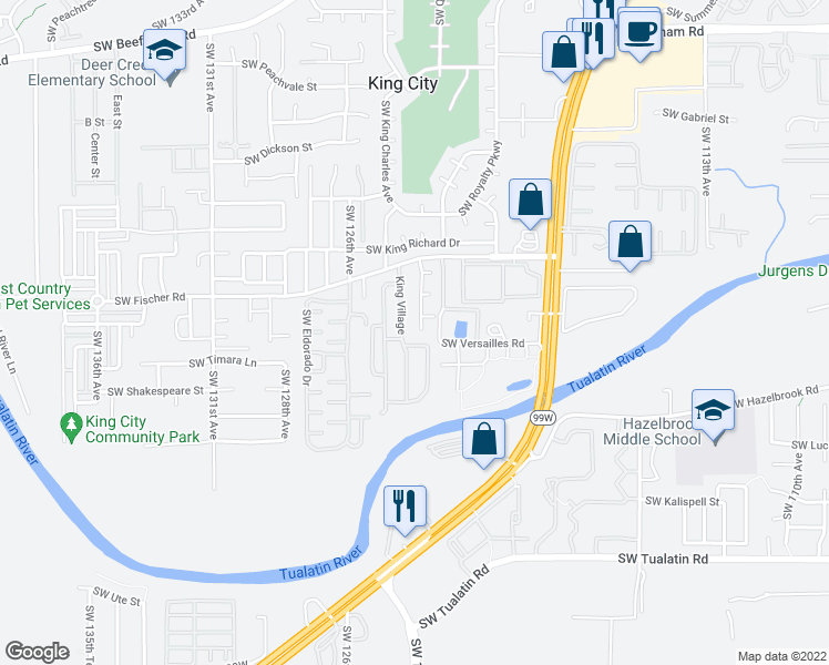map of restaurants, bars, coffee shops, grocery stores, and more near 17141 Southwest 123rd Avenue in Tigard
