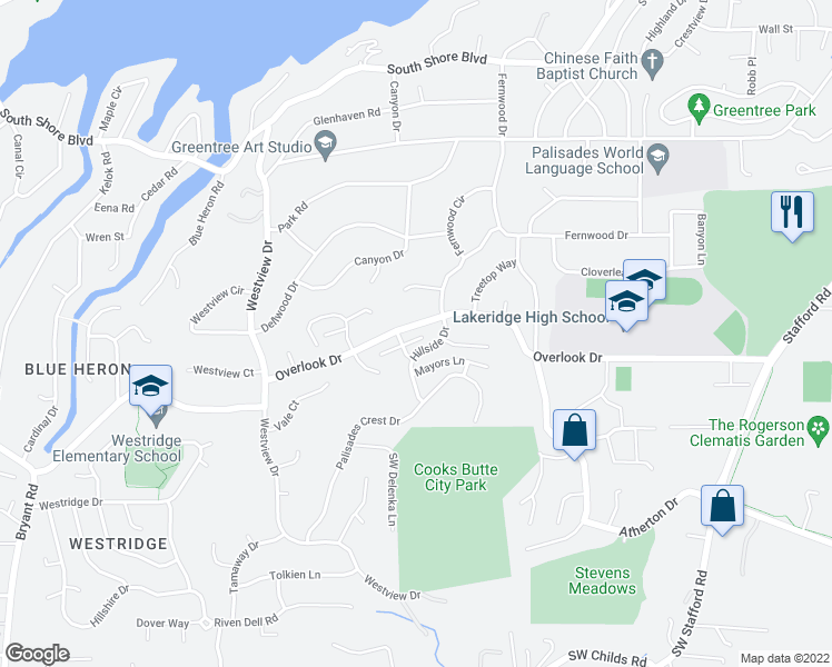 map of restaurants, bars, coffee shops, grocery stores, and more near 17808 Hillside Way in Lake Oswego