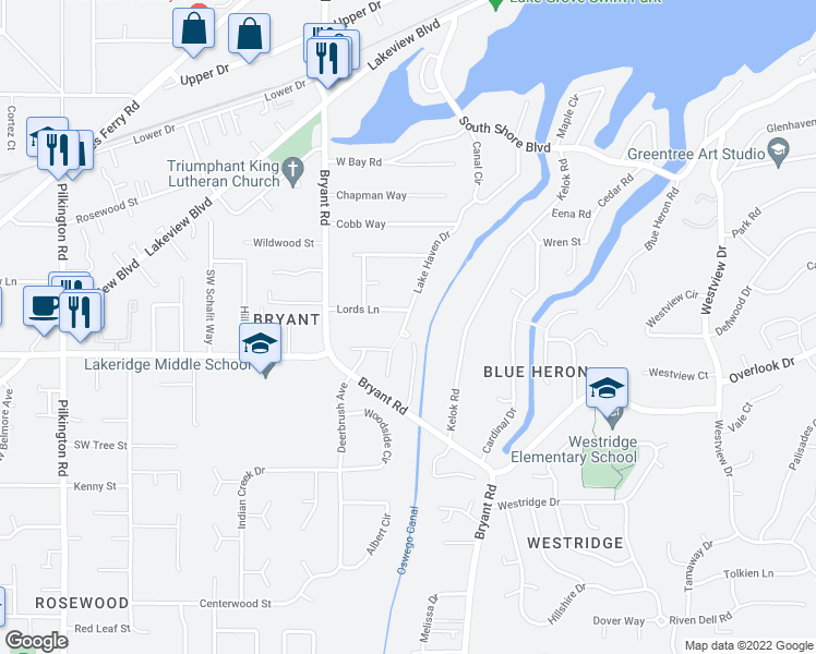 map of restaurants, bars, coffee shops, grocery stores, and more near 17700 Lake Haven Drive in Lake Oswego