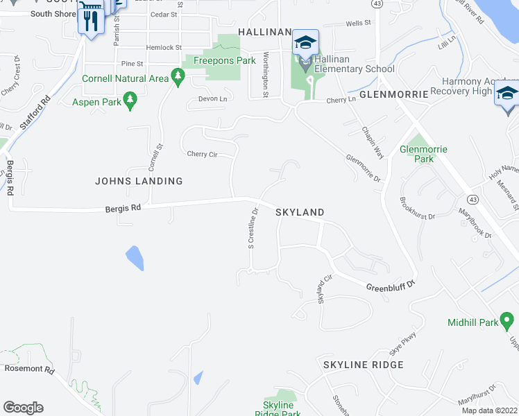 map of restaurants, bars, coffee shops, grocery stores, and more near 17618 Crestline Dr in Lake Oswego