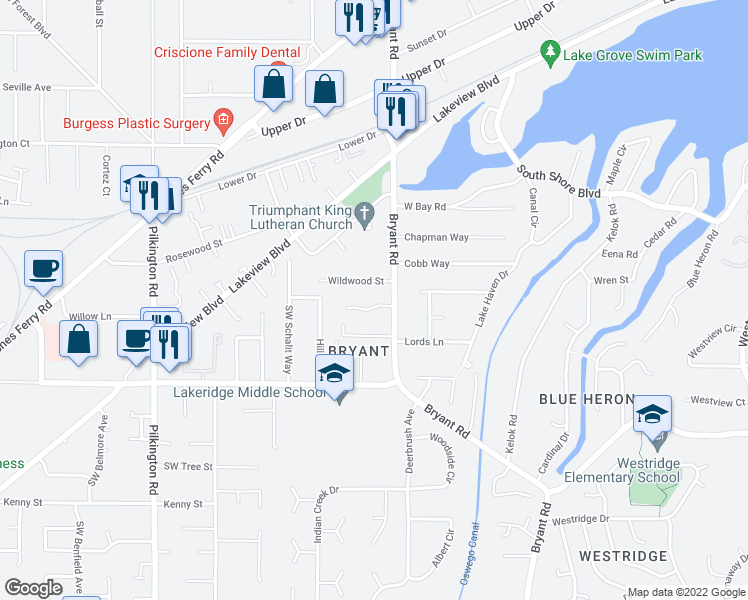map of restaurants, bars, coffee shops, grocery stores, and more near 4597 Black Forest Court in Lake Oswego