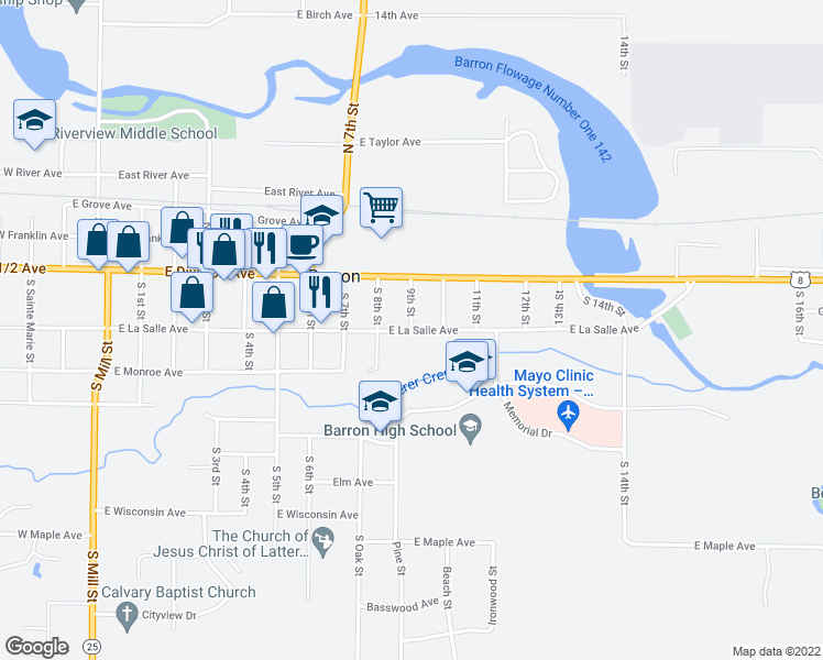 map of restaurants, bars, coffee shops, grocery stores, and more near 0 9th St in Barron
