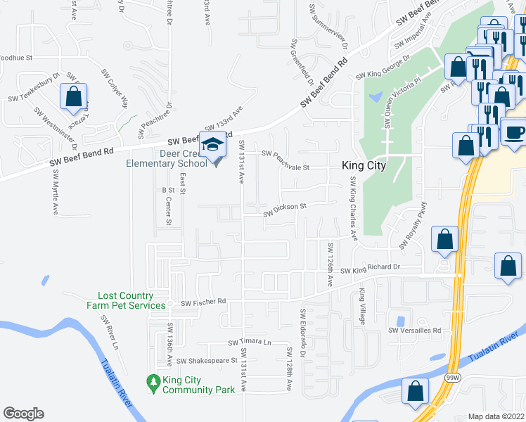 map of restaurants, bars, coffee shops, grocery stores, and more near 16466 Southwest 130th Terrace in Tigard
