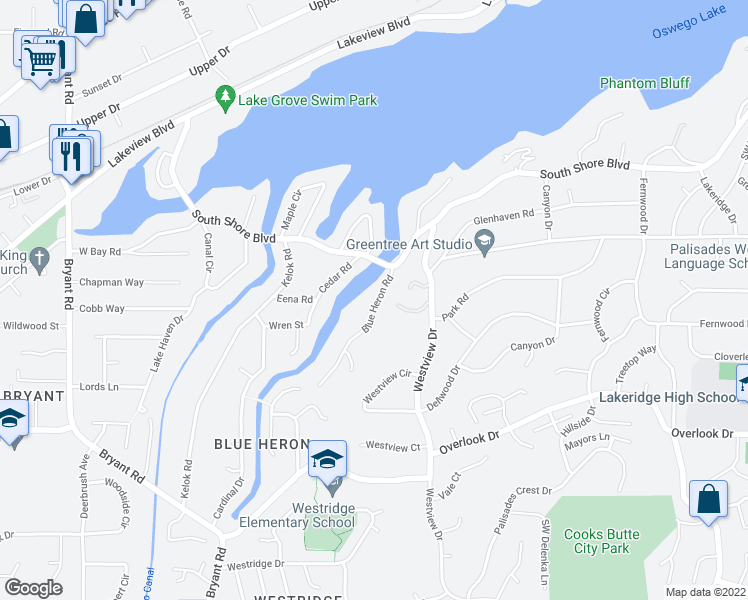 map of restaurants, bars, coffee shops, grocery stores, and more near 17283 Blue Heron Road in Lake Oswego