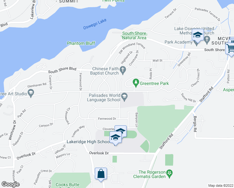 map of restaurants, bars, coffee shops, grocery stores, and more near 1602 Greentree Road in Lake Oswego