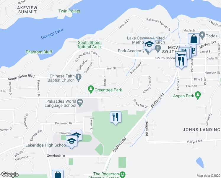 map of restaurants, bars, coffee shops, grocery stores, and more near 1474 Greentree Circle in Lake Oswego