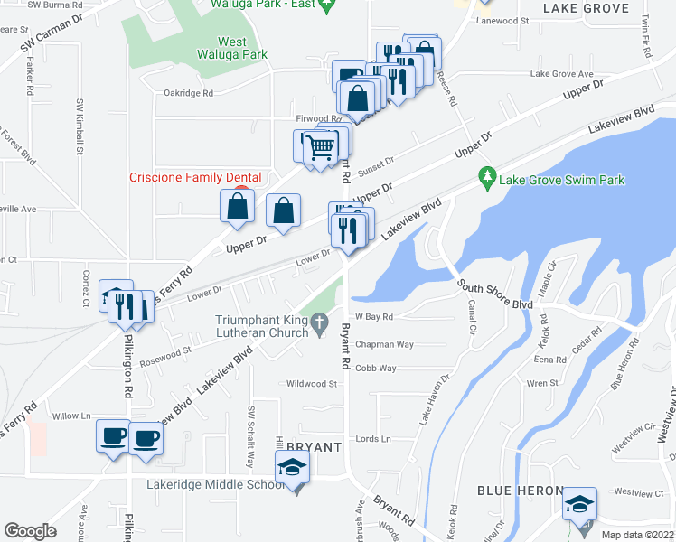map of restaurants, bars, coffee shops, grocery stores, and more near 4507 Lakeview Boulevard in Lake Oswego
