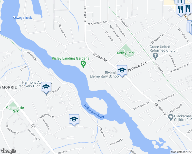 map of restaurants, bars, coffee shops, grocery stores, and more near 1652 Southeast Oak Shore Lane in Milwaukie