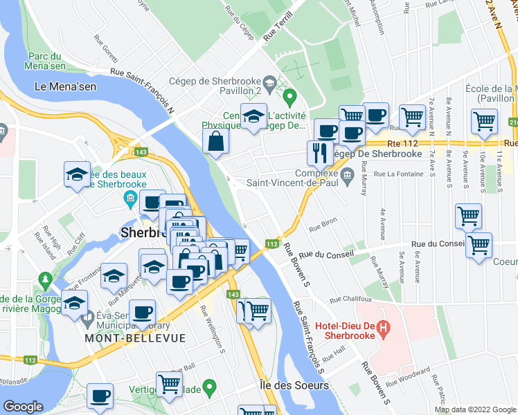 map of restaurants, bars, coffee shops, grocery stores, and more near 85 Rue Bowen Sud in Sherbrooke