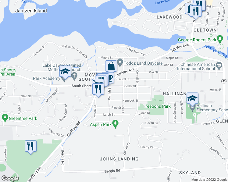 map of restaurants, bars, coffee shops, grocery stores, and more near Parrish Street in Lake Oswego