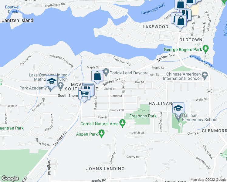 map of restaurants, bars, coffee shops, grocery stores, and more near 1318 Southwest Laurel Street in Lake Oswego