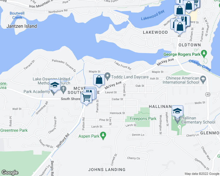 map of restaurants, bars, coffee shops, grocery stores, and more near 1405 Southwest Laurel Street in Lake Oswego