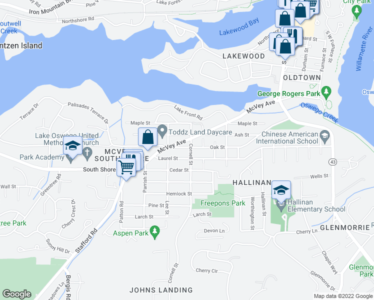 map of restaurants, bars, coffee shops, grocery stores, and more near 1228 Oak Street in Lake Oswego