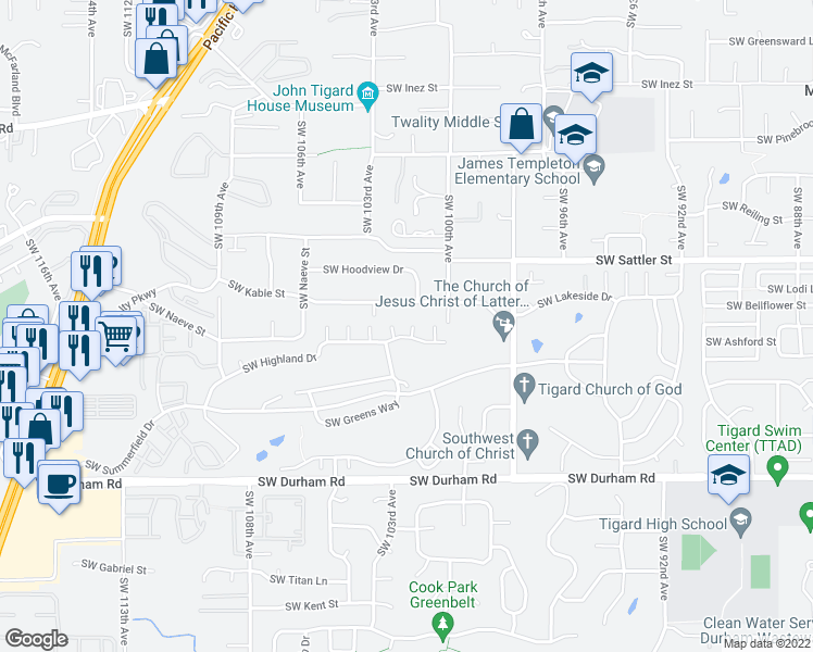 map of restaurants, bars, coffee shops, grocery stores, and more near 10145 Southwest Highland Drive in Tigard