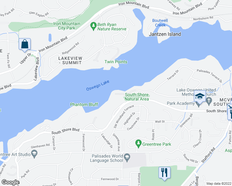 map of restaurants, bars, coffee shops, grocery stores, and more near 1475 West Oak Terrace in Lake Oswego