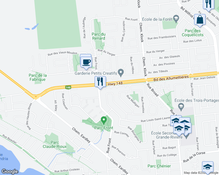 map of restaurants, bars, coffee shops, grocery stores, and more near 310 Rue Front in Gatineau