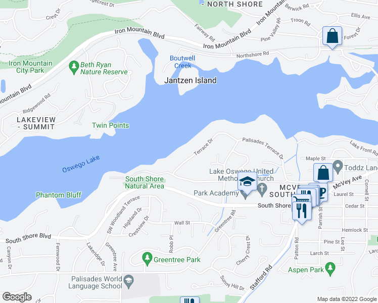 map of restaurants, bars, coffee shops, grocery stores, and more near 961 Terrace Dr in Lake Oswego