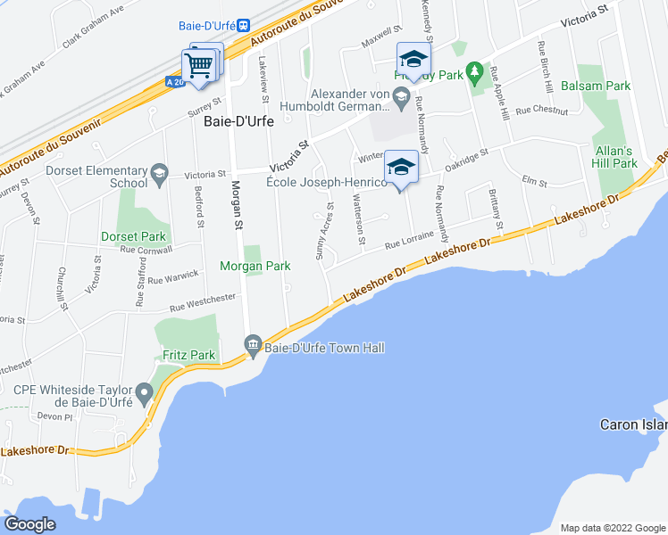 map of restaurants, bars, coffee shops, grocery stores, and more near 304 Rue Lorraine in Baie-D'Urfe