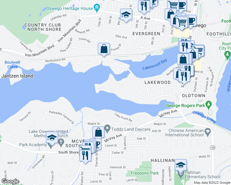 map of restaurants, bars, coffee shops, grocery stores, and more near 890 Lake Shore Road in Lake Oswego