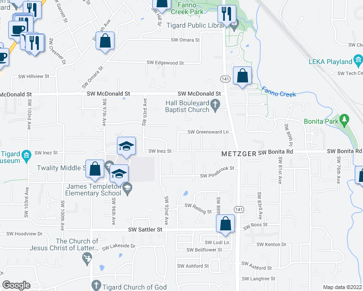 map of restaurants, bars, coffee shops, grocery stores, and more near 14466 Southwest 90th Avenue in Tigard