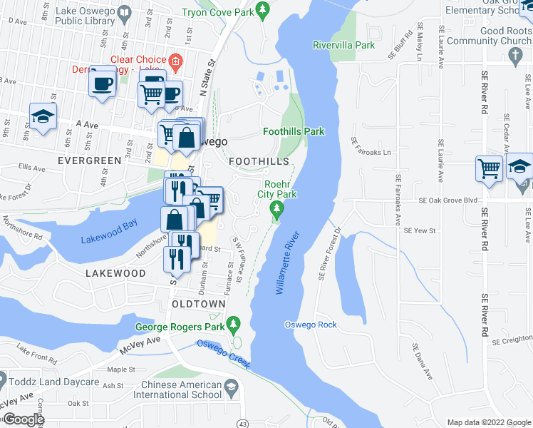 map of restaurants, bars, coffee shops, grocery stores, and more near 5033 Foothills Road in Lake Oswego